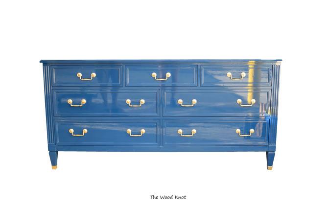 High Gloss Blue and gold Low Boy dresser