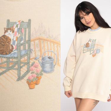 Country Cat Sweatshirt Kitten Sweater 80s Garden Shirt Cream Animal Sweatshirt Vintage 90s Graphic Retro Novelty Print Extra Large xl l by ShopExile