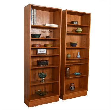Pair of Teak Compact Tall Adjustable Shelf Bookcases