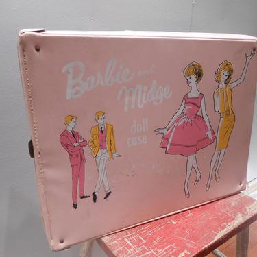 Vintage Barbie Midge Doll Carrying Case Closet Wardrobe  Pink Pastel Accessory Clothing Suitcase Mattel 1963 Childrens Kids Toy Vinyl Case by kissmyattvintage