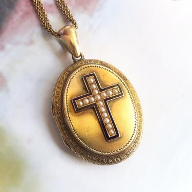 "Victorian Pearl Enamel Locket 1860's Antique Pearl Enamel Cross Necklace Vintage Pendant 14k Yellow Gold 24"" Inch Chain by YourJewelryFinder"