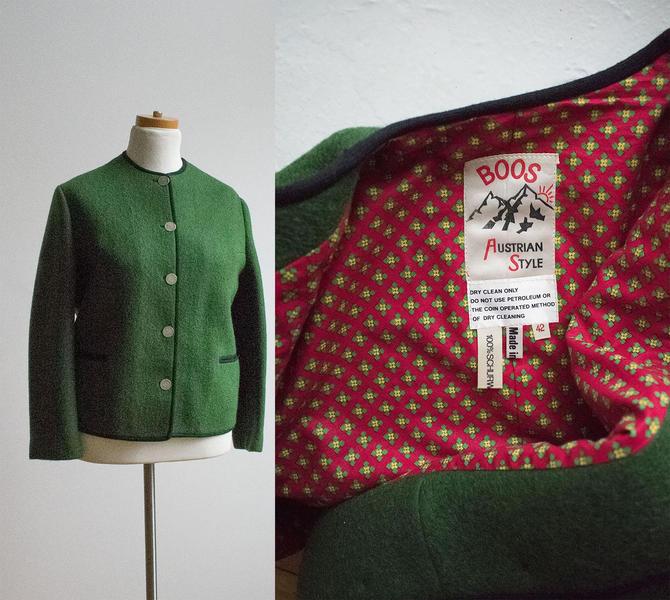 Vintage Green Wool Alpine Jacket / True Vintage Jacket / Wool Austrian Jacket / Silver Buttons / Boos Austrian Style Wool Jacket by milkandice
