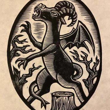 Jersey Devil Block Print by WoodcutEmporium