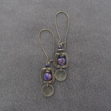 Imperial jasper earrings, modern earrings, unique statement earrings, purple earrings, contemporary chic earrings, industrial bronze by Afrocasian