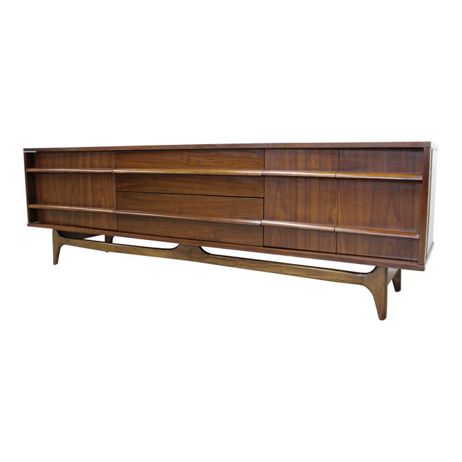 Mid-Century Modern Concave Front Low Walnut Credenza by Young Mfg. Co. by AnnexMarketplace