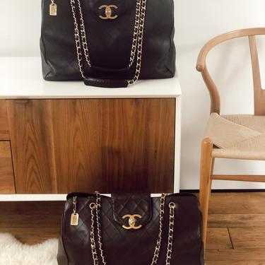 Vintage 90's CHANEL XL Super Model Cosmos CC Turnlock Monogram Logo Brown Leather Shoulder Bag Tote Travel Carry All by MoonStoneVintageLA