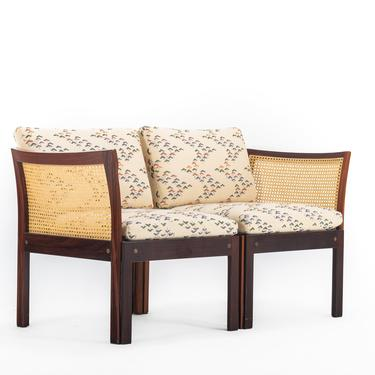 Two Seater Sofa / Chairs by Illum Wikkelsø in Rosewood and Cane by ABTModern
