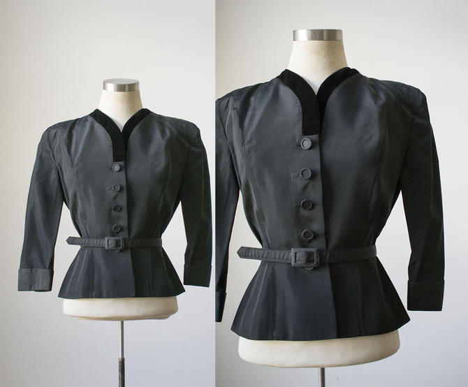 1940s Black Suit Jacket / 1940s Womens Suit / Black Taffeta Jacket / Black Button Down Suit Jacket / 1940s Goth by milkandice