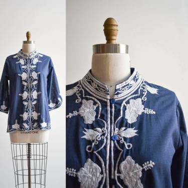 Vintage Navy Blue Embroidered Tunic Blouse by milkandice
