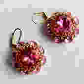 1960s Pink Glass Buttons Earrings on Wires by LegendaryBeast