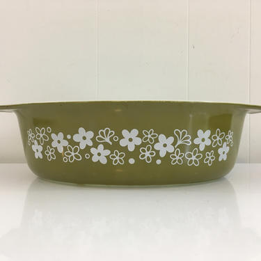 Vintage Pyrex Spring Blossom Green Casserole Dish 045 2.5 Quart Milk Glass Mid-Century Retro Oven Made in USA Ovenware by CheckEngineVintage