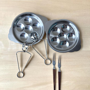 stainless escargot serving set snail plates tongs and forks - set of two NOS in box by ionesAttic
