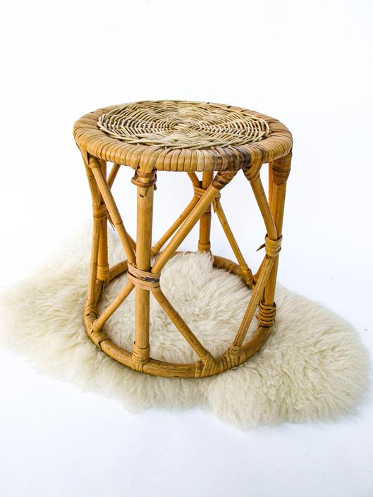 Vintage Woven Rattan Danish Style Retro Stool/Side Table/Plant Stand by PortlandRevibe