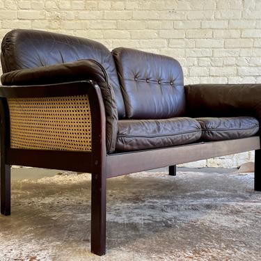 Mid Century Modern CANED + TUFTED Leather SOFA / Loveseat by CIRCA60