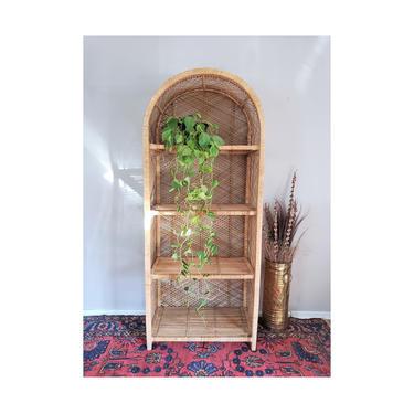 FREE SHIPPING! Vintage Rattan Shelf 6ft | Boho Wicker Etagere | MCM Arched Dome Bookshelf | Bohemian Shelving Bookcase by SavageCactusCo