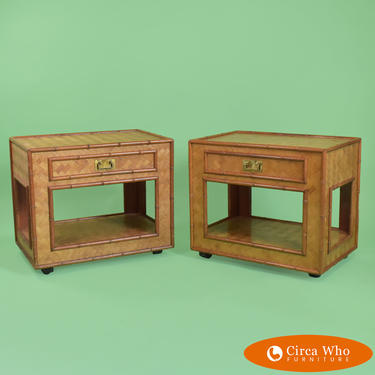 Pair of Woven Rattan End Tables in Casters
