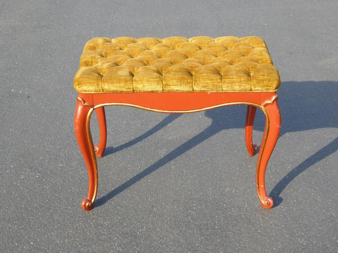 Vintage French Provincial Red Lacquer Tufted Gold Velvet Bench Made in USA by VintageLAfurniture
