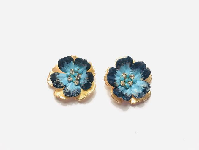 The Pink Reef blue and navy hand formed hand painted floral stud