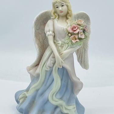 Vintage Porcelain Night Light Lamp Angel Holding  Flowers- by JoAnntiques