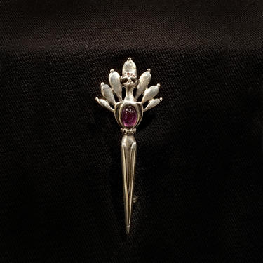 Antique Peacock Brooch Victorian Sterling Silver Pin with Amethyst Cabochon by BellewoodDesignGoods