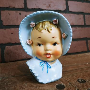 Blue Ceramic Baby Wall Pocket Vase by RedsRustyRelics