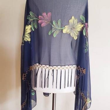 Vintage Navy Blue Fringed Flower Print Scarf Shawl / Evening Wrap Sheer Blue Multicolored Flowers Beaded / Doria by RareJuleVintage