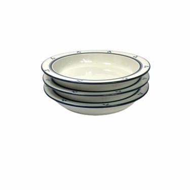 Vintage Dansk Bistro FREDRIKSBORG BLUE Rimmed Soup Bowl 100135, Set of 3 by Northforkvintageshop