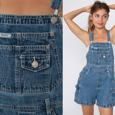Denim Overall Shorts Revolt Jean Overalls 90s Distressed Jean Pocket Bibs Blue Streetwear Woman 1990s Vintage Cargo small by ShopExile