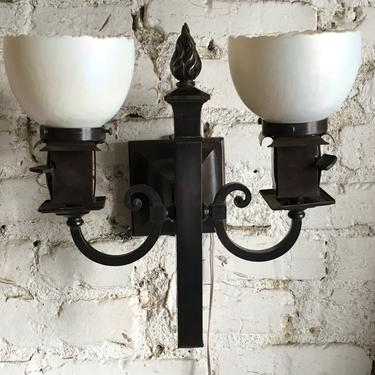 PAIR Gas and Electric Sconces with Steuben Shades by vintagefilament