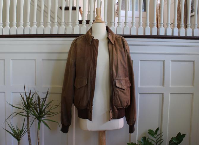 Vintage 80s Adventure Bound Brown Leather Flight Jacket Men's Size S by NeonSkyVintageMN