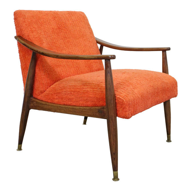 Mid-Century Danish Modern Orange Walnut Open Arm Lounge Chair by AnnexMarketplace