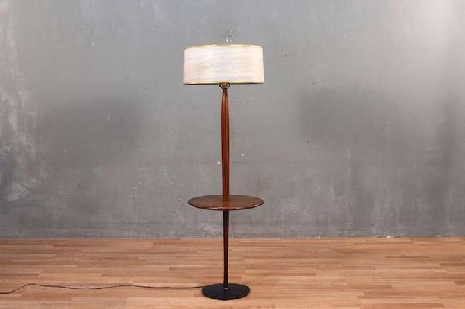 Mid Century Walnut Side Table Floor Lamp