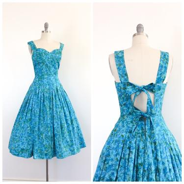 FINAL PAYMENT for LEA /// 50s Blue Floral Cotton I.Magnin Day Dress / 1950s Vintage Sun Summer Dress / Medium / Size 10 by CheshireVintageShop