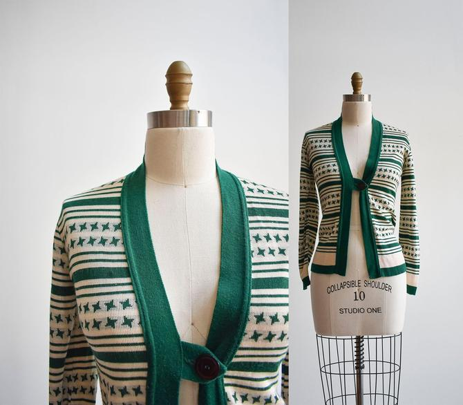 1970s Green & White Striped Cardigan Sweater by milkandice