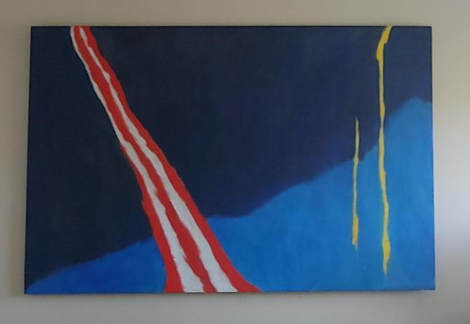 Large 4' x 6' Original Abstract Oil On Canvas by Sachiko Asano c. 1968 by ModandOzzie