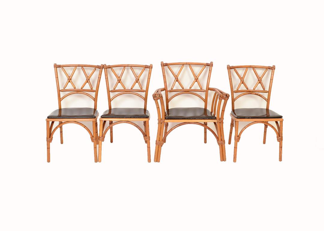Heywood Wakefield Ashcraft Bamboo 4 Dining Chairs Mid