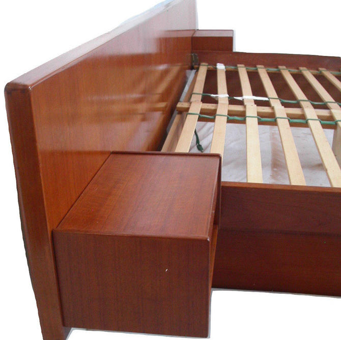 Danish Modern Teak KING Platform Bed + Floating Nightstands By Dyrlund MCM Mid Century Bedroom SCAN by RetroSquad