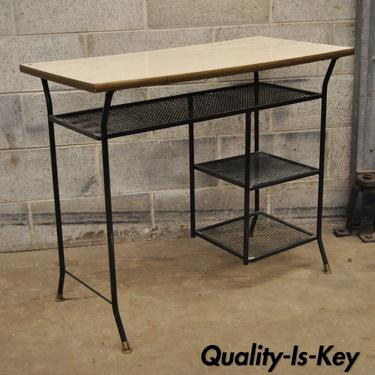 Vtg Mid Century Modern Wrought Iron Metal Mesh Small Writing Desk - Small metal work table