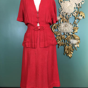 1940s 2 piece set, vintage 40s outfit, skirt and blouse, size large, red burlap set, film noir style, 1940s casual day ensemble, 30 31 waist by BlackLabelVintageWA