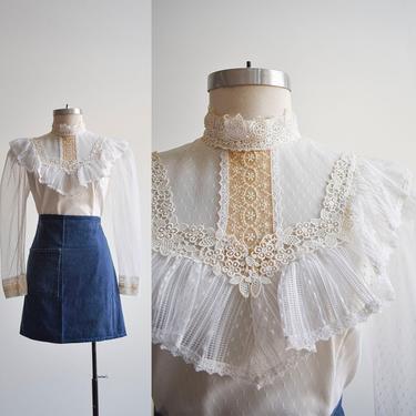 Vintage 1970s White Lace Blouse by milkandice