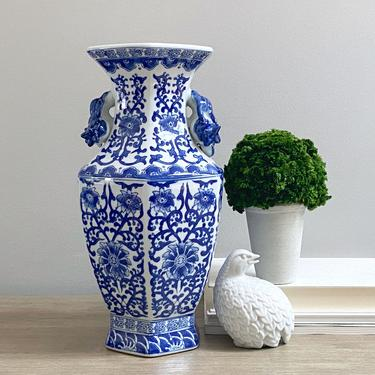 Large Chinese Vase Blue White Hexagonal Baluster Mantle Centerpiece Vase Chinoiserie Decor by ModRendition