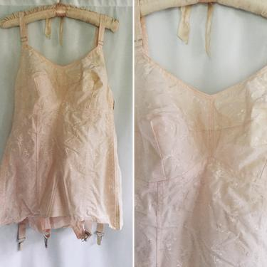 Vintage 50s Corset    Vintage Carol Brent all in one corset girdle with garters   1950s new old stock pale pink cotton corset girdle bullet by BeeandMason