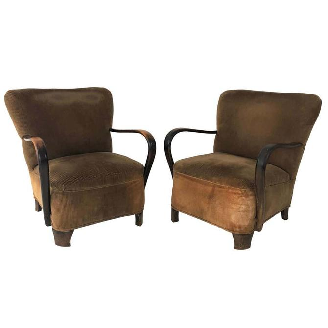 Pair of 1940s Lounge Armchairs with Bentwood Arms