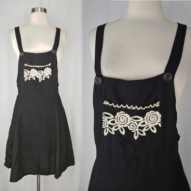 Vintage 90s Black Rayon Linen Blend Embroidered Black Overall Skirt Jumper - XS Nineties Dress by JanetandJaneVintage