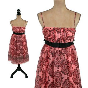Y2K Spaghetti Strap Chiffon Midi Dress Small, Empire Waist Maroon & Pink India Print, Romantic Boho Clothes for Teen Junior Women by MagpieandOtis