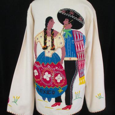 Adorable  1950's Hand applique and Hand Stitched Novelty Tourist Jacket with Romantic Couple Rockabilly Swing Vintage Western  Medium/Large by wearitagain
