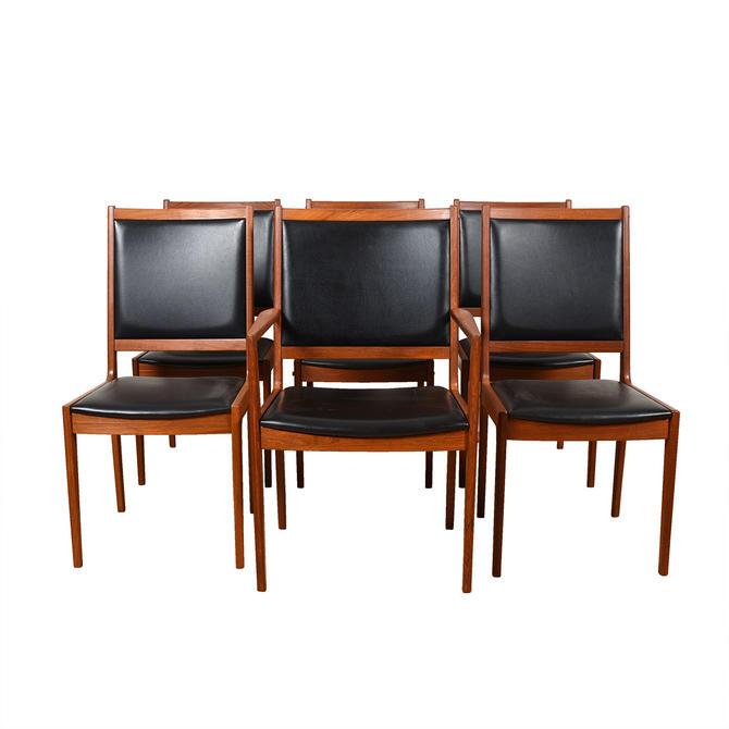 Set of 6 Danish Black & Teak Dining Chairs 1 Arm + 5 Side
