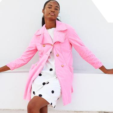 60s Barbie Pink Velvet Coat Vintage Gold Button Pastel Jacket by AppleBranchesVintage