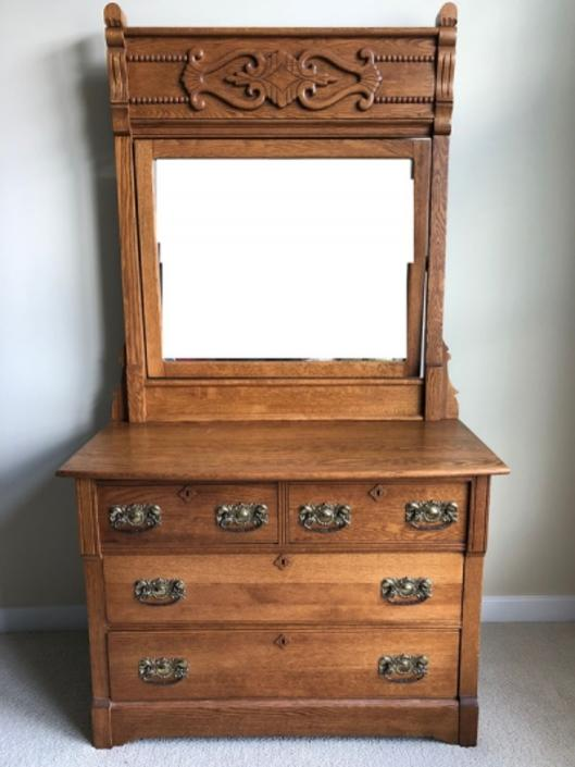 Circa 1890's Tall Victorian Oak Dresser with Mirror