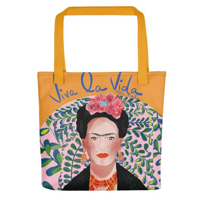 Frida Kahlo Viva la Vida Tote Bag - Carry All Bag by VioletredStudio